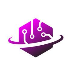 technology logo simple tech design vector image