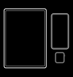 three templates tablet smartphone watch on a vector image