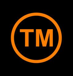 trade mark sign orange icon on black background vector image