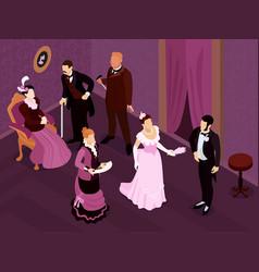 Victorian aristocrats party composition vector