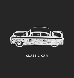 Vintage hand drawn car retro car symbol design vector
