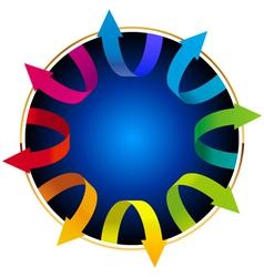 Volumetric colorful rotating arrows vector image