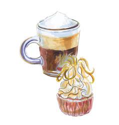 watercolor coffee espresso cupcake vector image