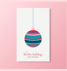 winter holidays cards with trees colorful balls vector image