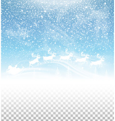 Winter sky with falling snow and santa claus vector