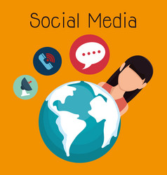 woman with social media icon vector image