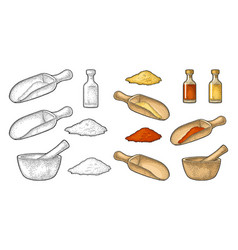 Wooden mortar pestle scoop and glass bottle vector