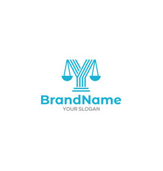 Y pillar and scale of justice logo design vector