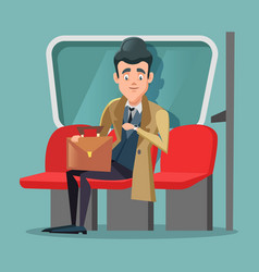 young businessman inside metro vector image