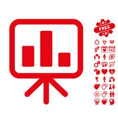 bar chart display icon with dating bonus vector image