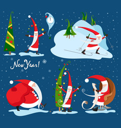 collection of christmas santa claus christmas set vector image vector image