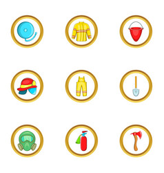 firefighter service icon set cartoon style vector image vector image