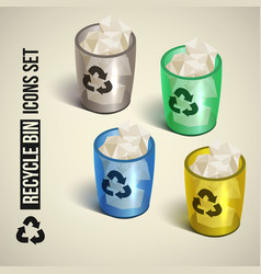 realistic recycle bin icons set vector image vector image