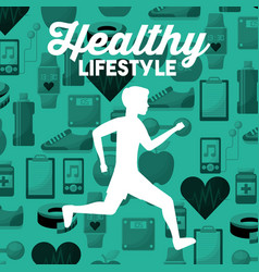 white silhouette man running healthy lifestyle vector image