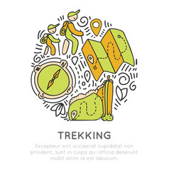 hiking and trekking icon hand draw concept vector image
