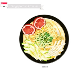 Laksa or Singaporean Rice Noodle in Spicy Soup vector image vector image
