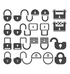 lock icon set symbol vector image