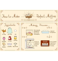 Recipe of cupcakes and muffins with ingredients vector