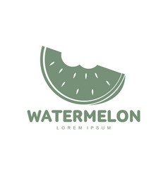 red and green logo template with stylized bitten vector image