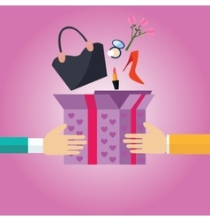 gift present box open to girls female stuff hand vector image vector image