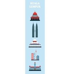 Set of Kuala Lumpur symbols vector image vector image