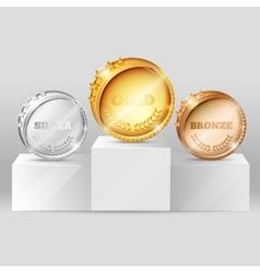 Sports Medals On Pedestal Design vector image