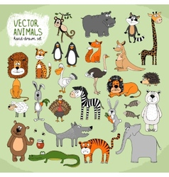 Hand-drawn wild animals collection vector image