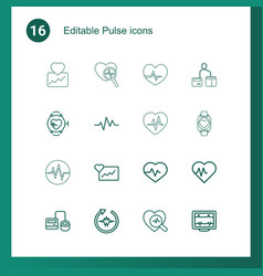 16 pulse icons vector