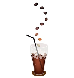 A Delicious Iced Coffee with Roasted Beans vector