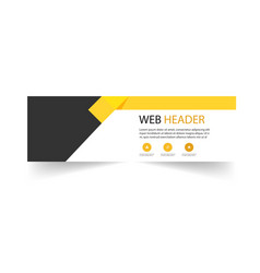 Abstract web header template yellow black backgrou vector