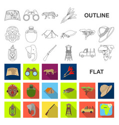 African safari flat icons in set collection for vector