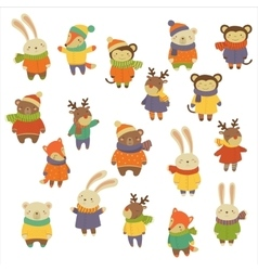 Animals Wearing Warm Clothes vector image