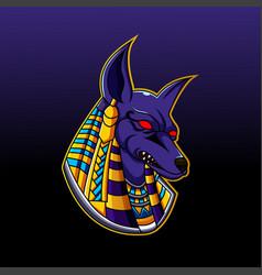 Anubis head mascot logo design vector