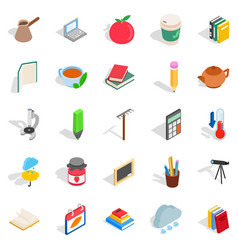 Autumn city icons set isometric style vector