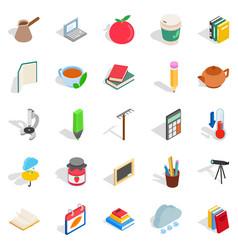 Autumn city icons set isometric style vector