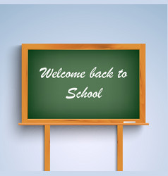 Back to school on green board template vector image