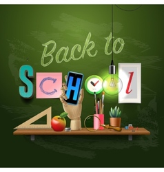 Back to school template with schools workspace vector