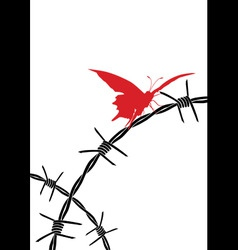 Barbed wire and butterfly vector