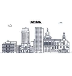 boston united states outline travel skyline vector image