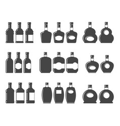 bottle icon set symbol vector image