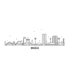 brasilia skyline brazil city buildings line vector image