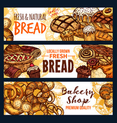 bread and pastry food sketch banner of bakery shop vector image