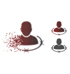 Broken dot halftone captured man icon vector