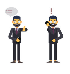 Buisnessman isolated character on whte with phone vector