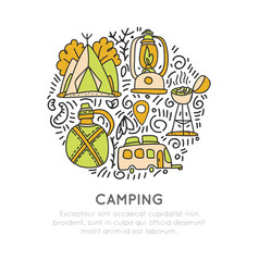 camping hand draw concept tent lamp vector image