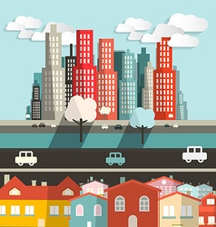 City - Houses with Highway and Skyscrapers vector