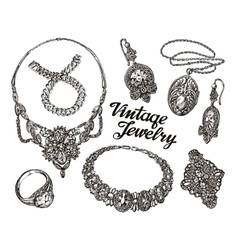 Collection vintage Jewelry Gold and Precious vector image