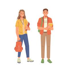 College or university students cartoon girl boy vector