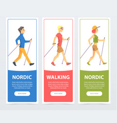 Colorful collection of cards with people nordic vector
