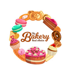 confectionery sweet desserts round frame vector image